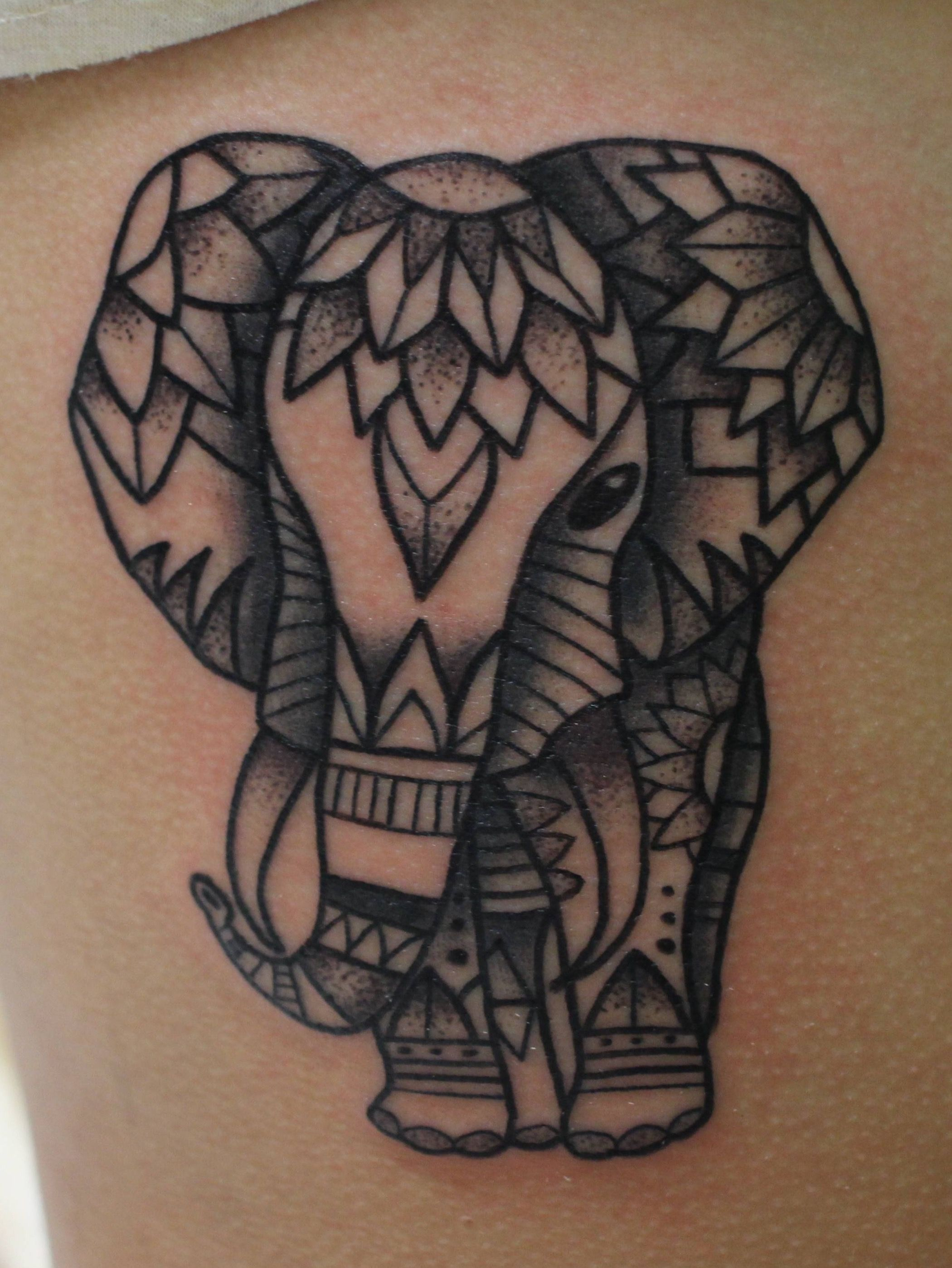 Henna Elephant Tattoo Designs: Elephant With Smaller Body And Sweet Gentle Eyes