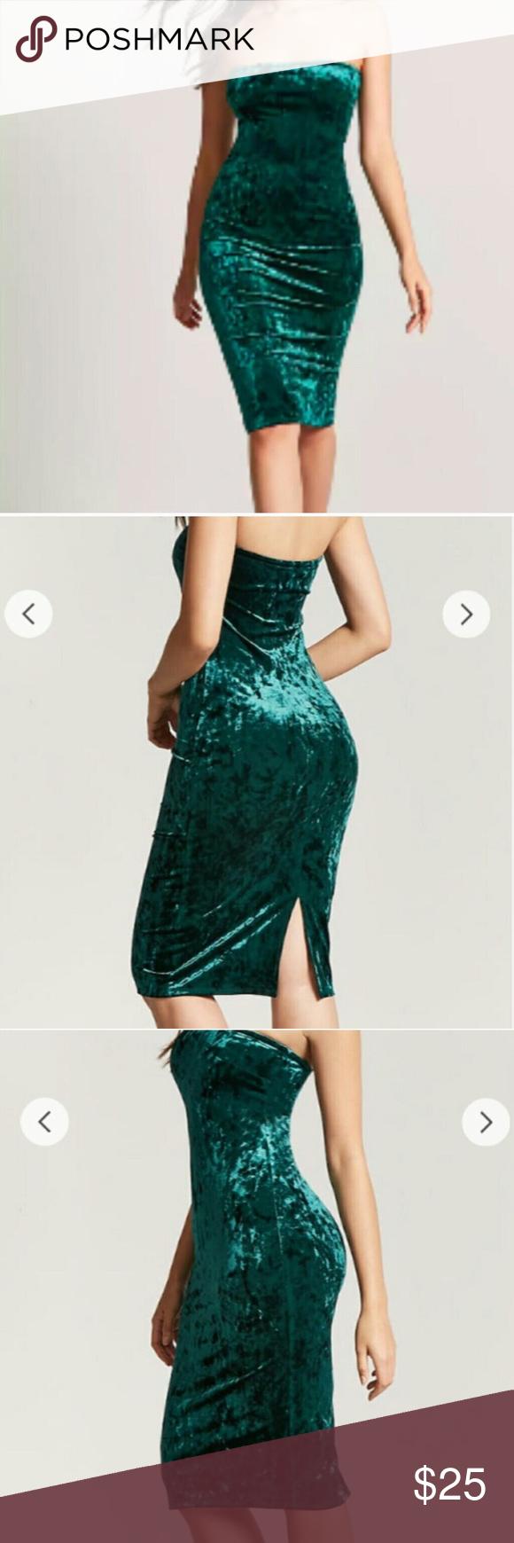 9540350881 forever 21 crushed velvet green strapless dress forever 21 crushed velvet  green strapless dress bodycon Women s small Forever 21 Dresses Midi