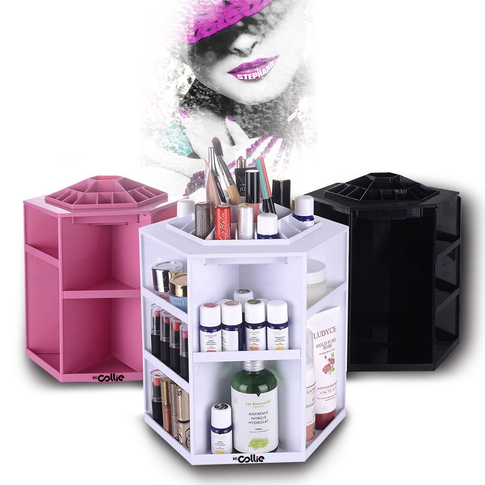 HiCollie 360 Rotating Big Capacity Tabletop Makeup Organizer Storage  Cosmetic