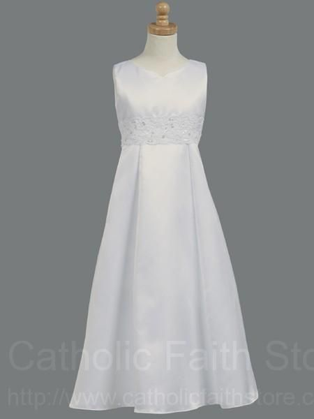 First Communion Dress With Corded Amp Beaded Laced Waistband