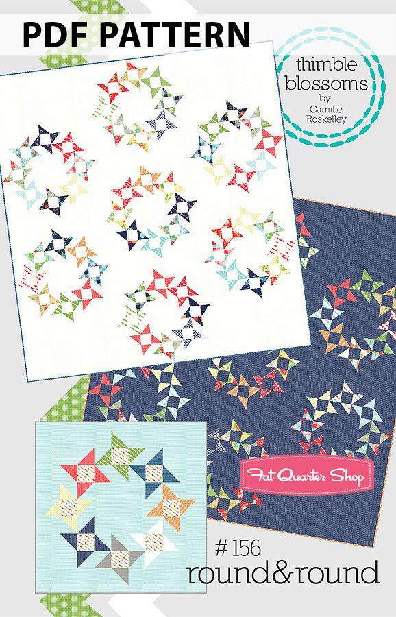 Round & Round Downloadable PDF Quilt Pattern Thimble Blossoms - Fat Quarter Shop