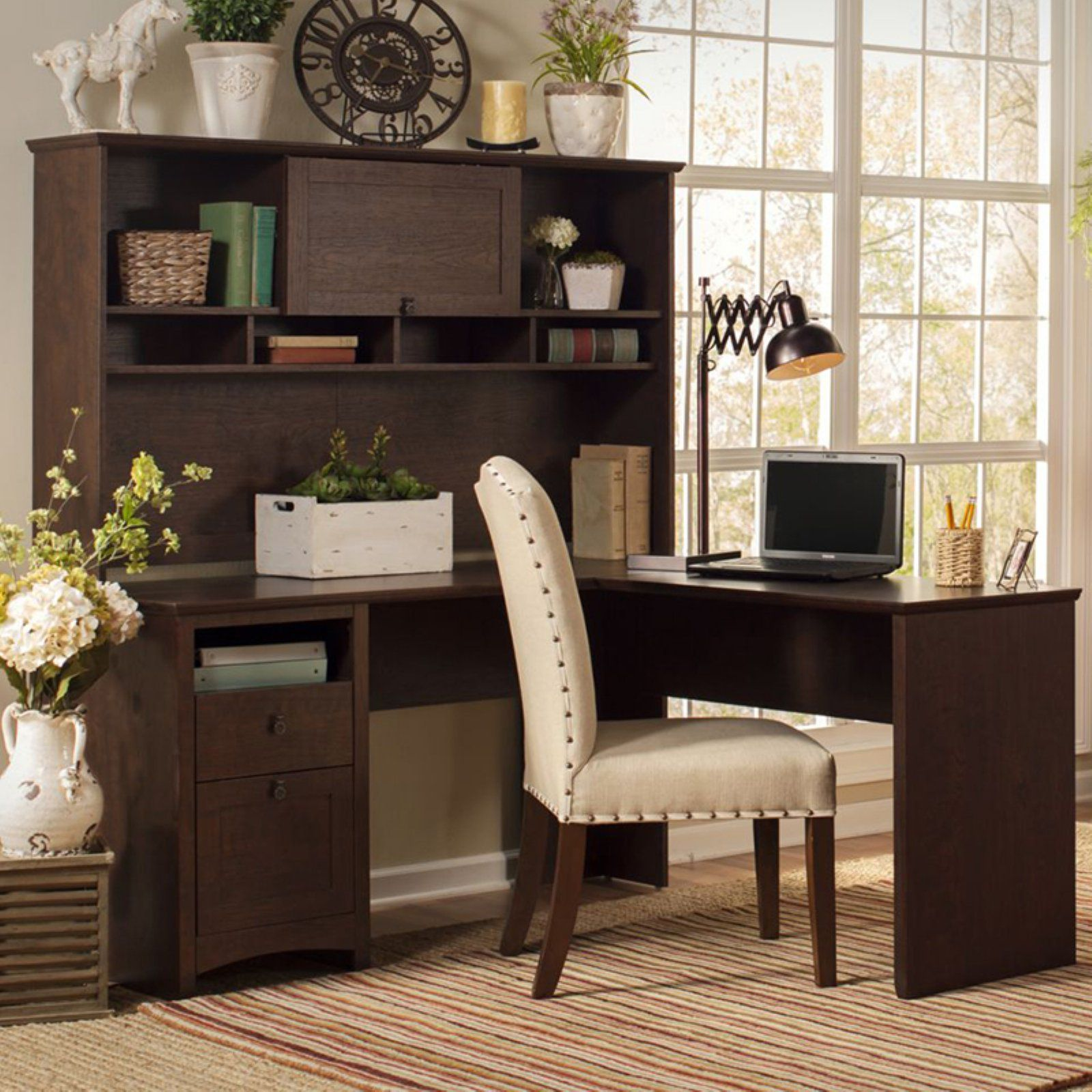 Bush Furniture Buena Vista 60 In L Shaped Desk With Hutch