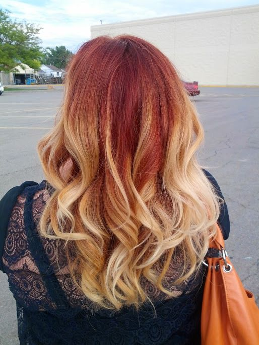 Red Brown Blonde Ombre Blonde Hair With Red Tips Blonde