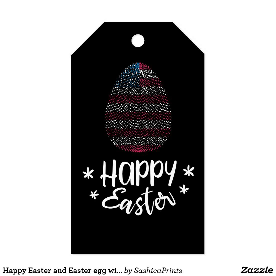 Happy easter and easter egg with american flag gift tags happy easter happy easter and easter egg with american flag gift tags negle Image collections