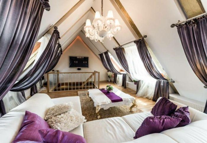 lila gardinen für dachschräge wohnzimmer Dachschräge Pinterest - gardinen fürs wohnzimmer