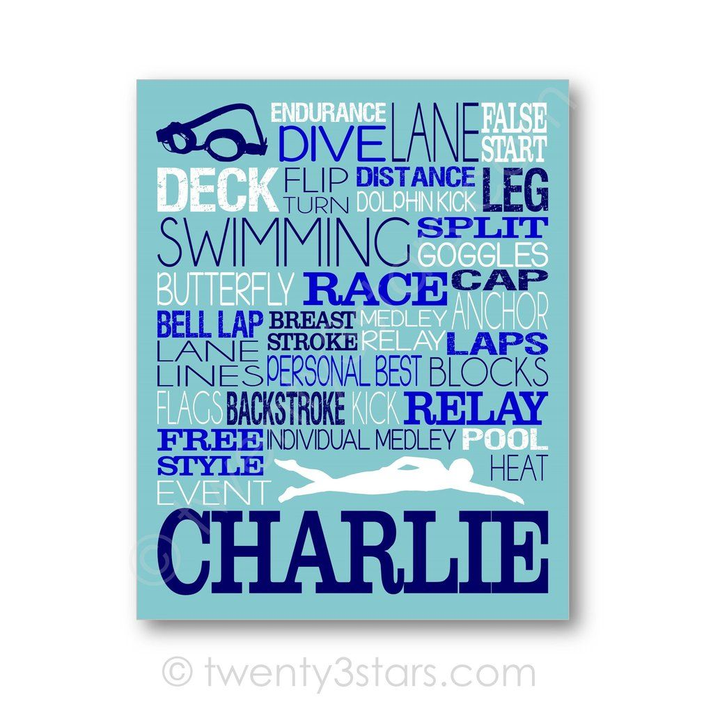 Color art tipografia - Swimming Typography Art Blue White Choose Any Colors Twenty3stars