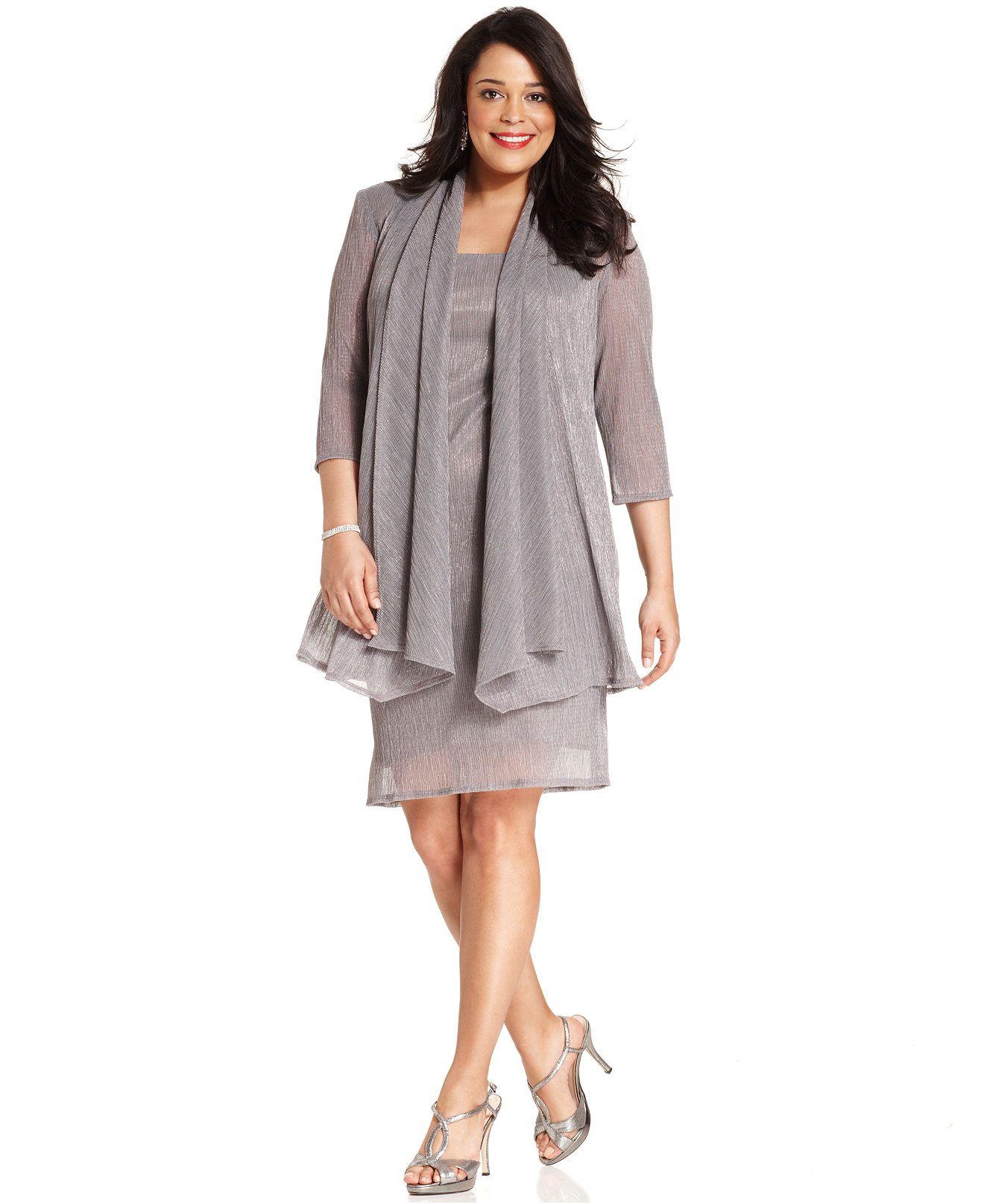 Rm Richards Plus Size Sleeveless Metallic Dress And Jacket Mother