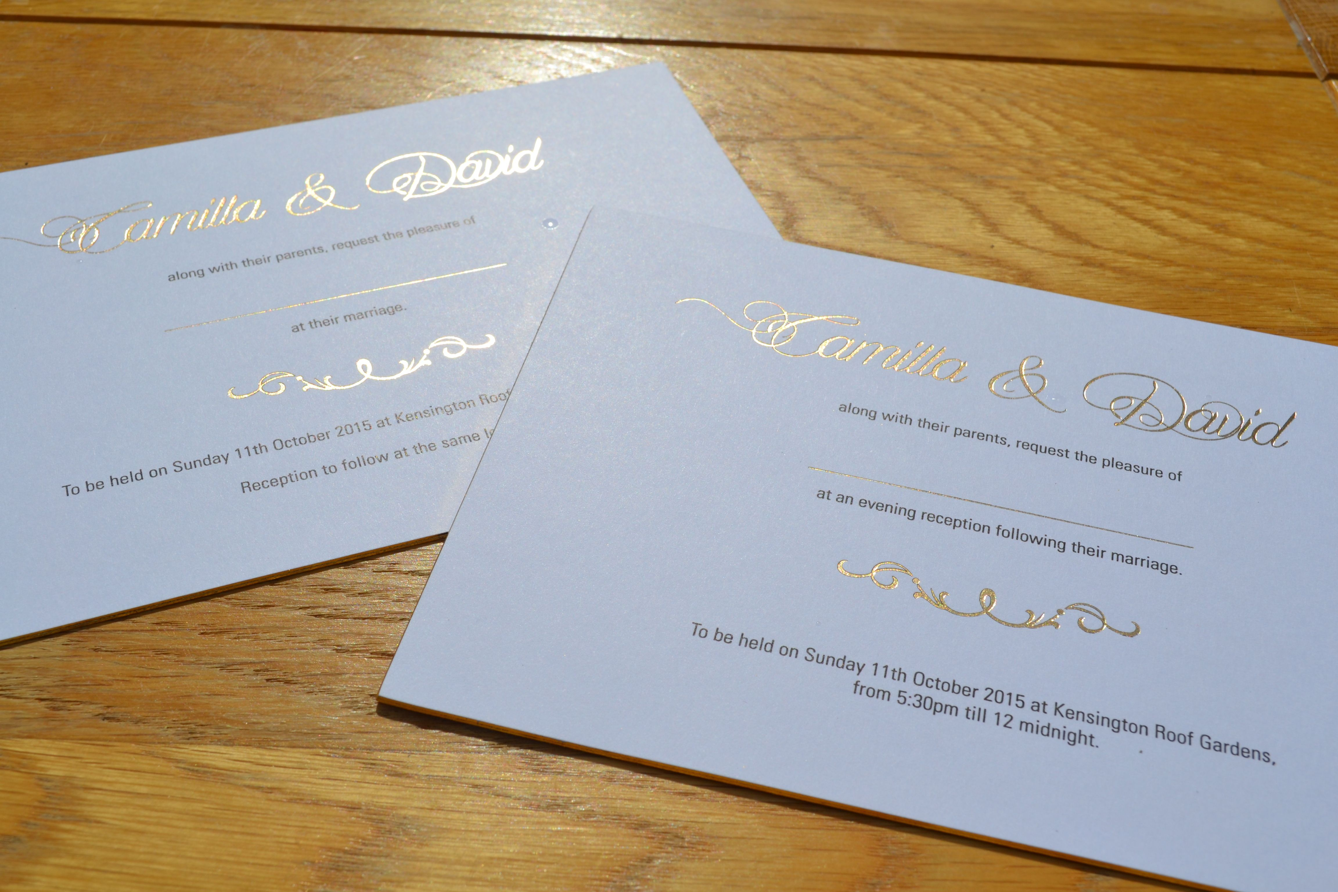 Wedding Invitations Printed In Gold Foil Black Litho Flat Print On Gilt Edged Cards