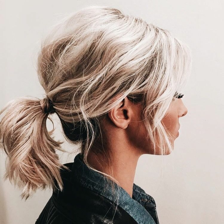 short hair pony tail hairstyle