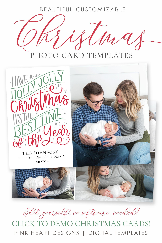 Holly Jolly Christmas Card Template Christmas Cards Template Etsy Holiday Card Template Printable Holiday Card Christmas Cards