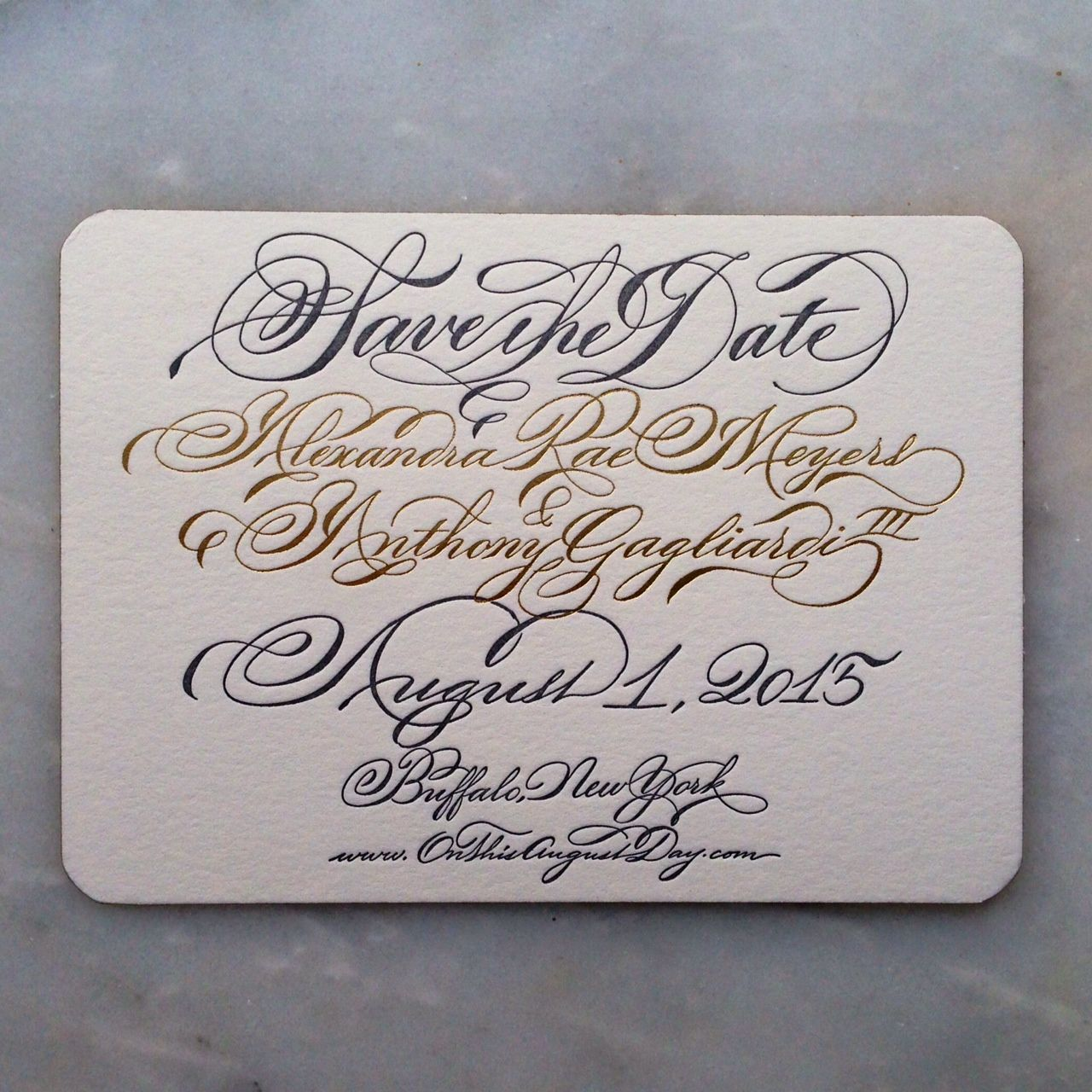 Calligraphed, 2-color save the date with rounded corners