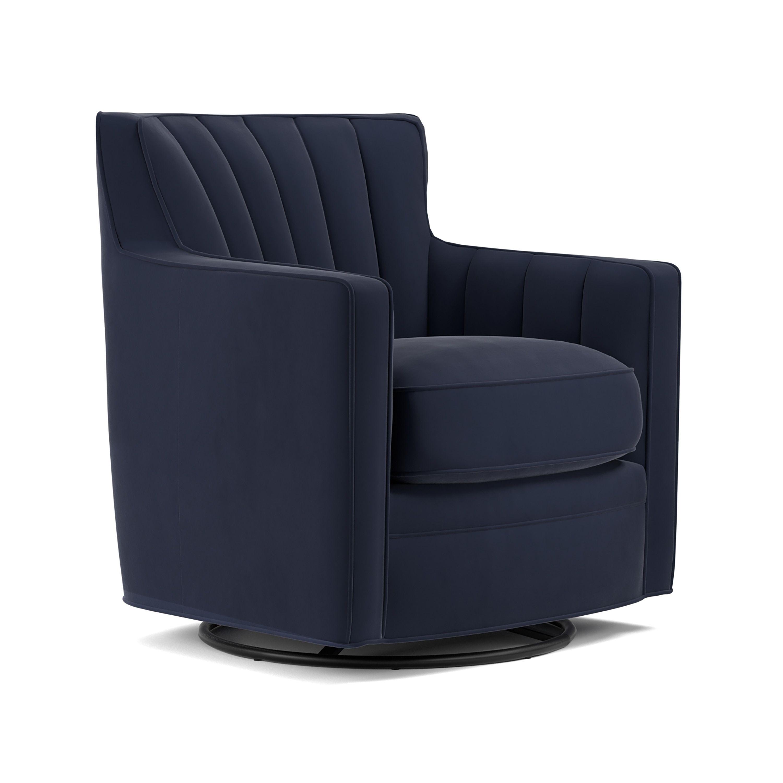 swivel arm chairs living room. Handy Living Zahara Navy Blue Velvet Swivel Arm Chair  Polyester