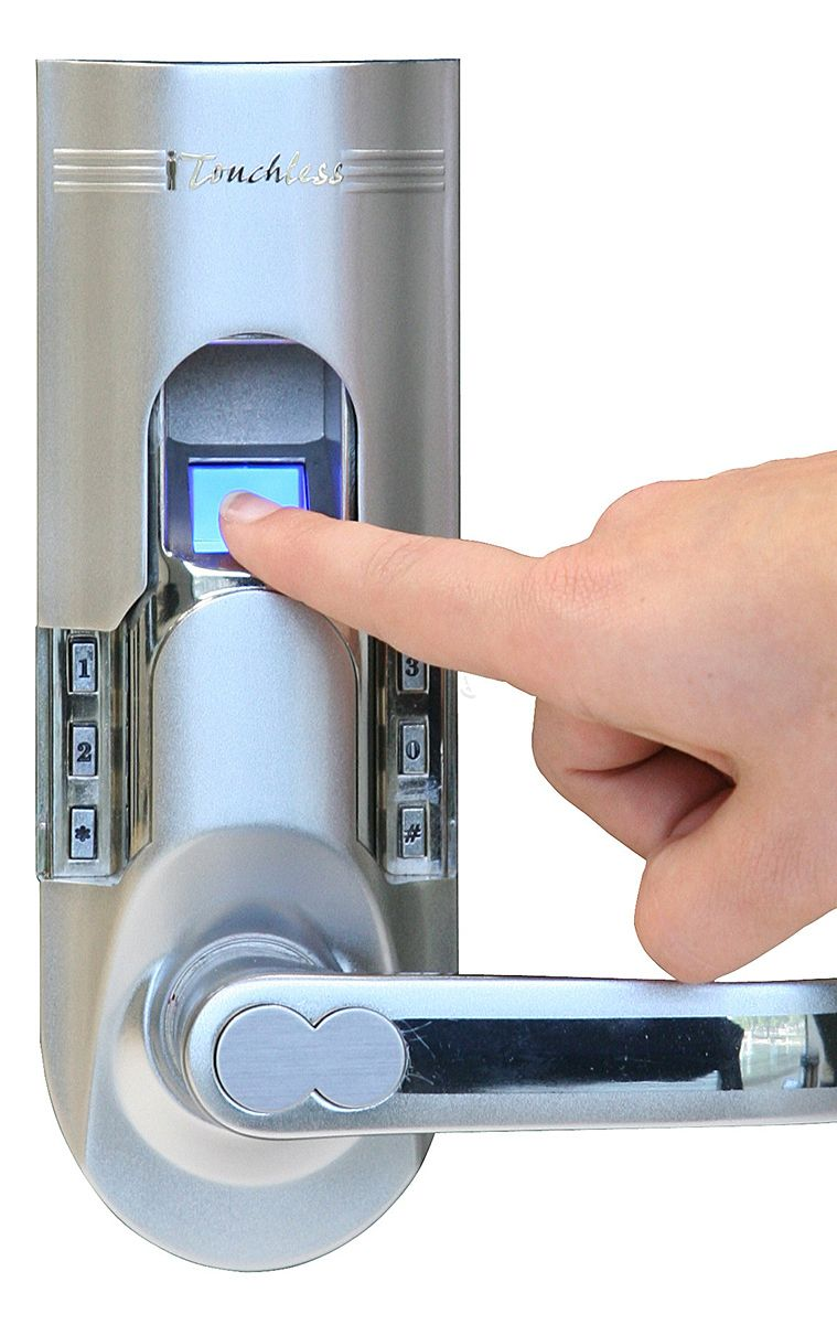 Fingerprint Recognition Door Lock Simply Install This Fingerprint Sensor Door Handle At Home And Nev Fingerprint Door Lock Door Locks Home Security Systems