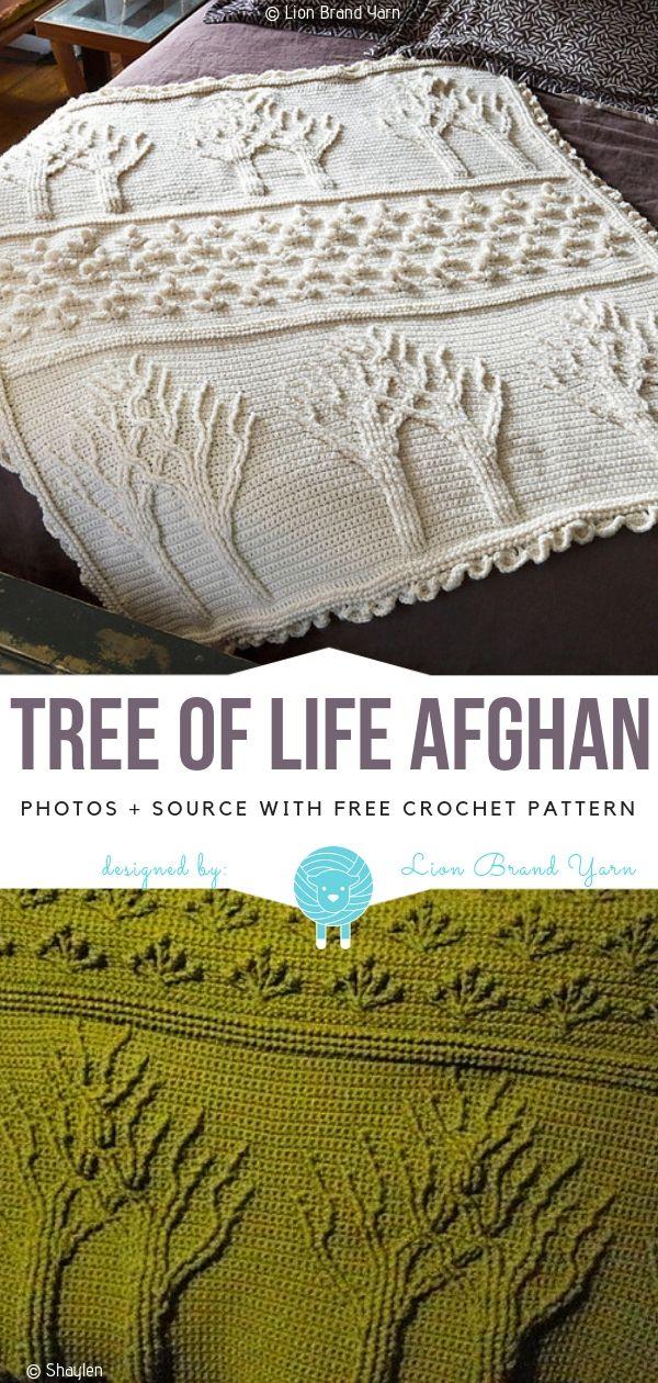 Tree of Life Afghan Free Crochet Pattern #afghanpatterns