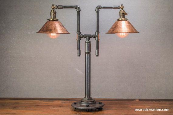 Lampade Rustiche In Rame : Tavolo vintage lampada stile industriale ferro tubazioni rame