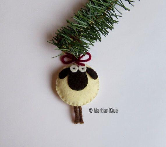 Giorgio the Sheep Ornament Felt di MartianiQue su Etsy