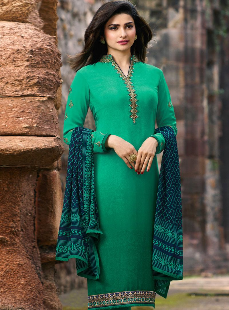 495ec6bc69 Buy Prachi Desai Sea Green Crepe Churidar Suit 149414 online at lowest  price from huge collection of salwar kameez at Indianclothstore.com.