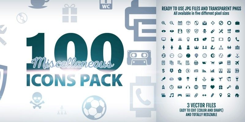 100 Miscellaneous Icons Pack by Doghead | Icon pack, Pixel
