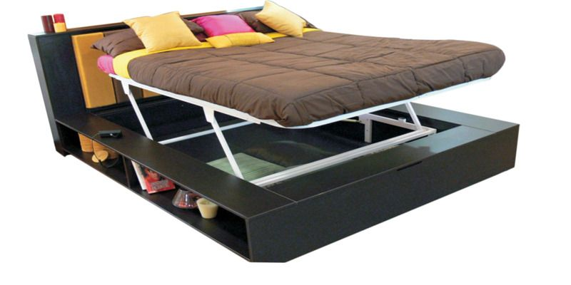 Karbon King Bed With Mechanism In Cola Rain Colour By Godrej