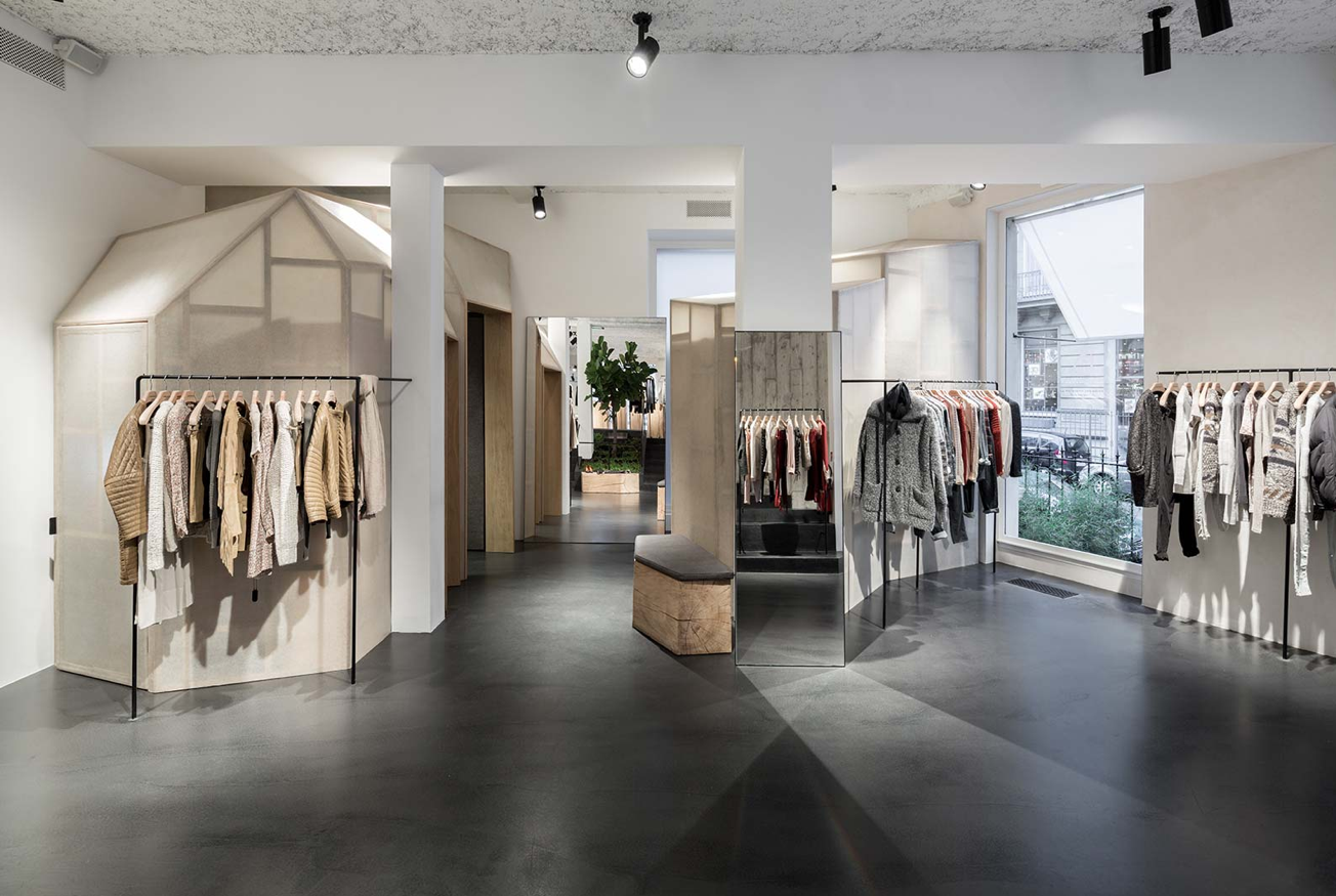 Showroom Beton Cire Paris aménagement boutique isabel marant - victor hugo, paris