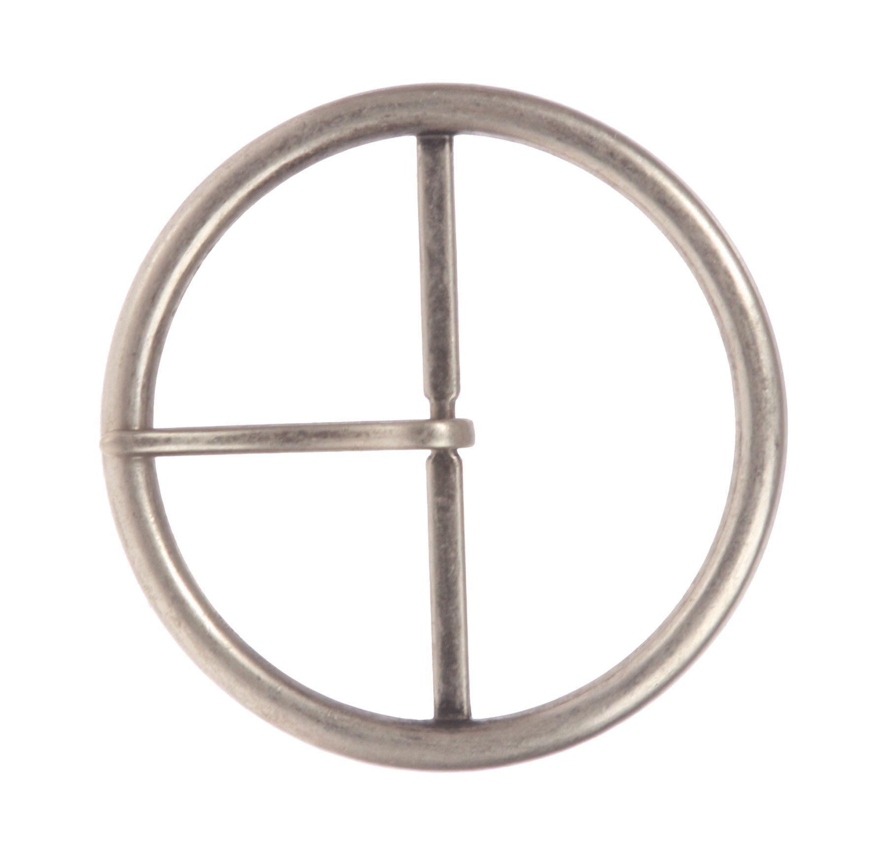 "2 5/8"" (68 mm) Single Prong Round Circle Center Bar Belt Buckle"