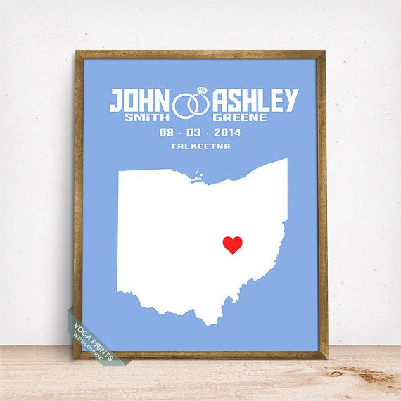 Ohio Map Print Wedding Print Anniversary Gift Custom by VocaPrints