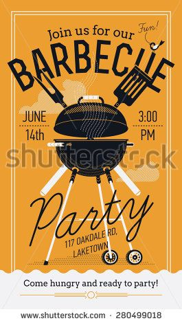 Lovely vector barbecue party invitation design template trendy bbq lovely vector barbecue party invitation design template trendy bbq cookout poster design with classic charcoal stopboris Images
