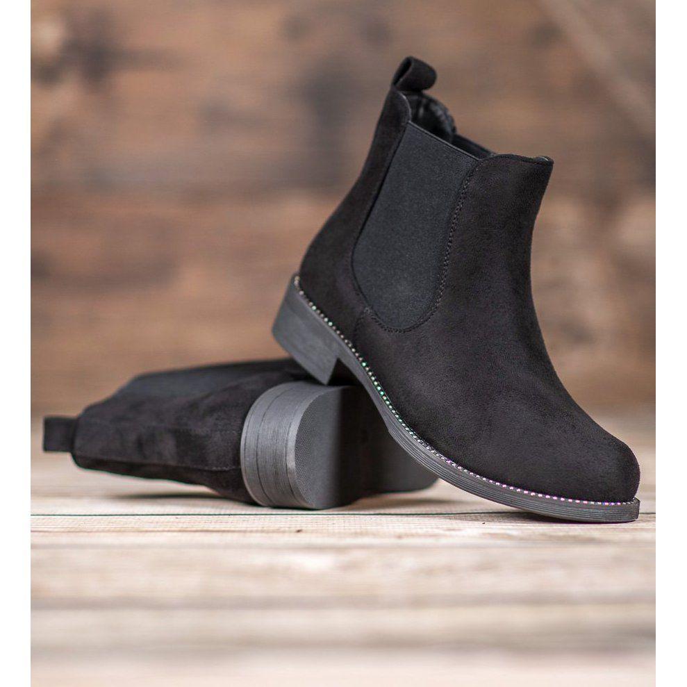 Sds Sztyblety Z Krysztalkami Czarne Boots Jodhpur Boots Boot Shoes Women