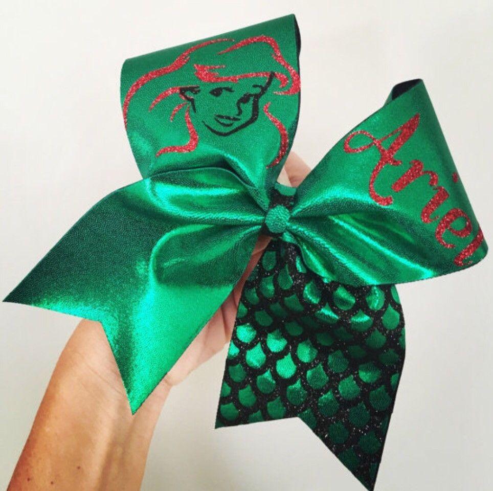 Green Spandex Ariel Mermaid Cheer Bow glitter detail