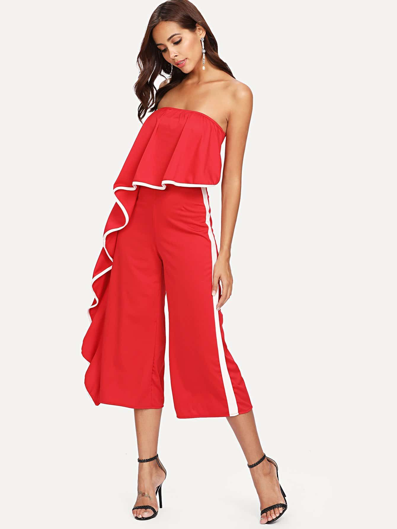 Contrast Trim Frill Strapless Jumpsuit #discounted #fashion #moda #product #trend #women #girls