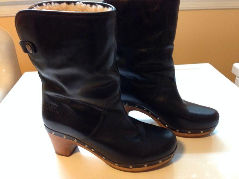 9a82c6c8997 UGG Australia Lynnea Black Leather Ankle Boots Size 7 US 38 Europe ...