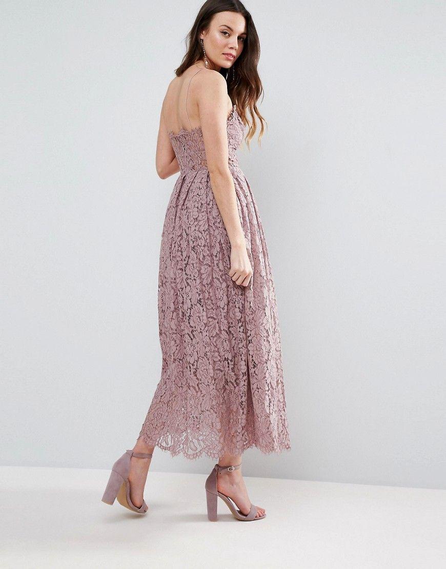 07c33fc3ab ASOS TALL Lace Cami Midi Prom Dress - Purple
