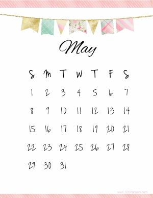 Pretty Calendar Template With Pastel Colored Flags And A Pink