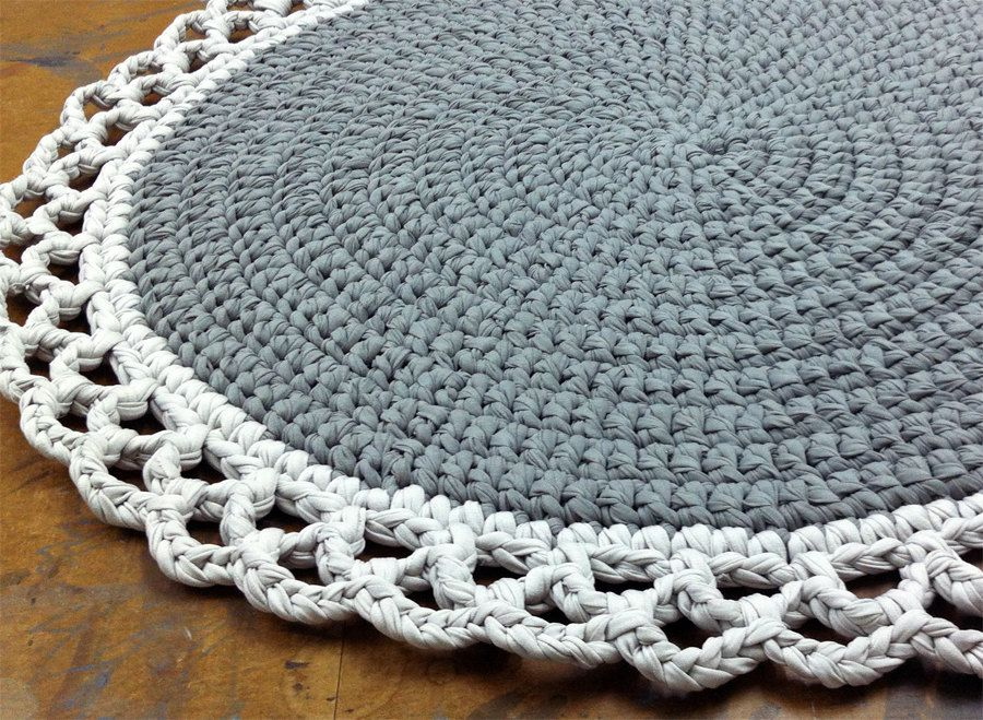 Round Rug Cotton Knitted Gray