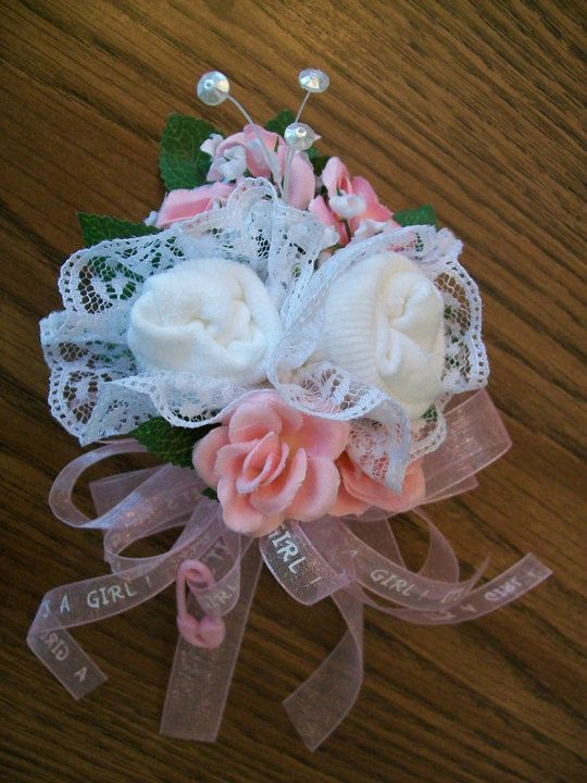 Girl Baby Sock Corsage With Images Baby Shower Crafts Baby Sock Corsage Baby Shower Corsage