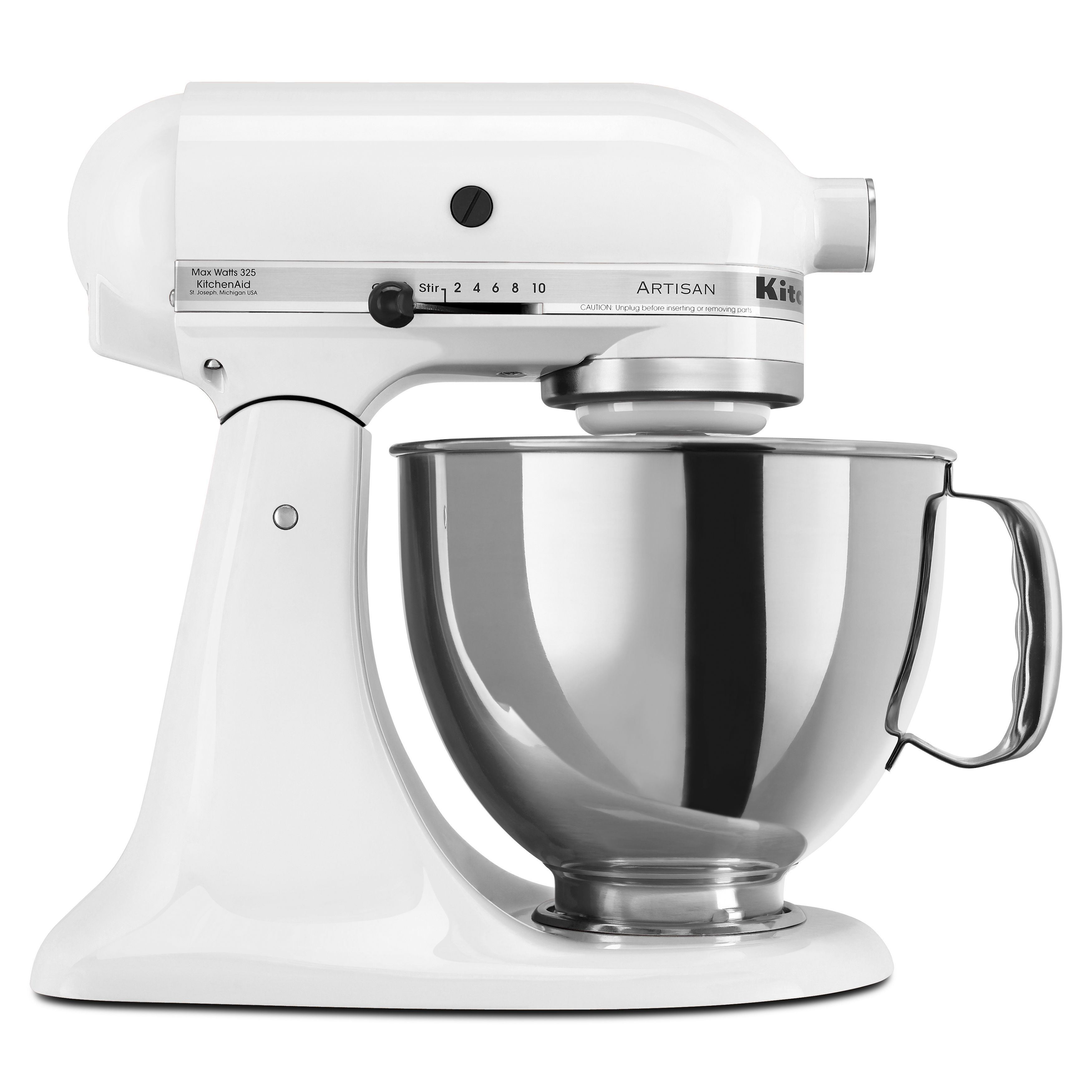 kitchenaid white 5 quart artisan tilt head stand mixer with 50