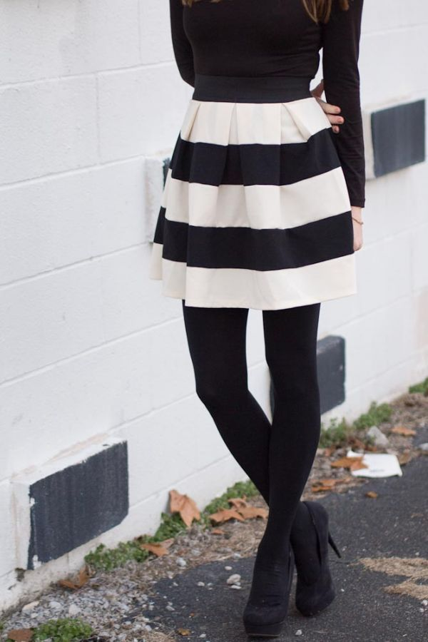 Black And White Striped Skirt Love It With Black Tights