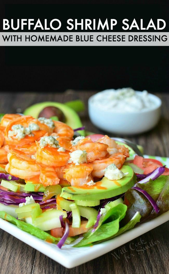 Spice up your next get-together with this Buffalo Shrimp Salad with Homemade Blue Cheese Dressing. #buffaloshrimp