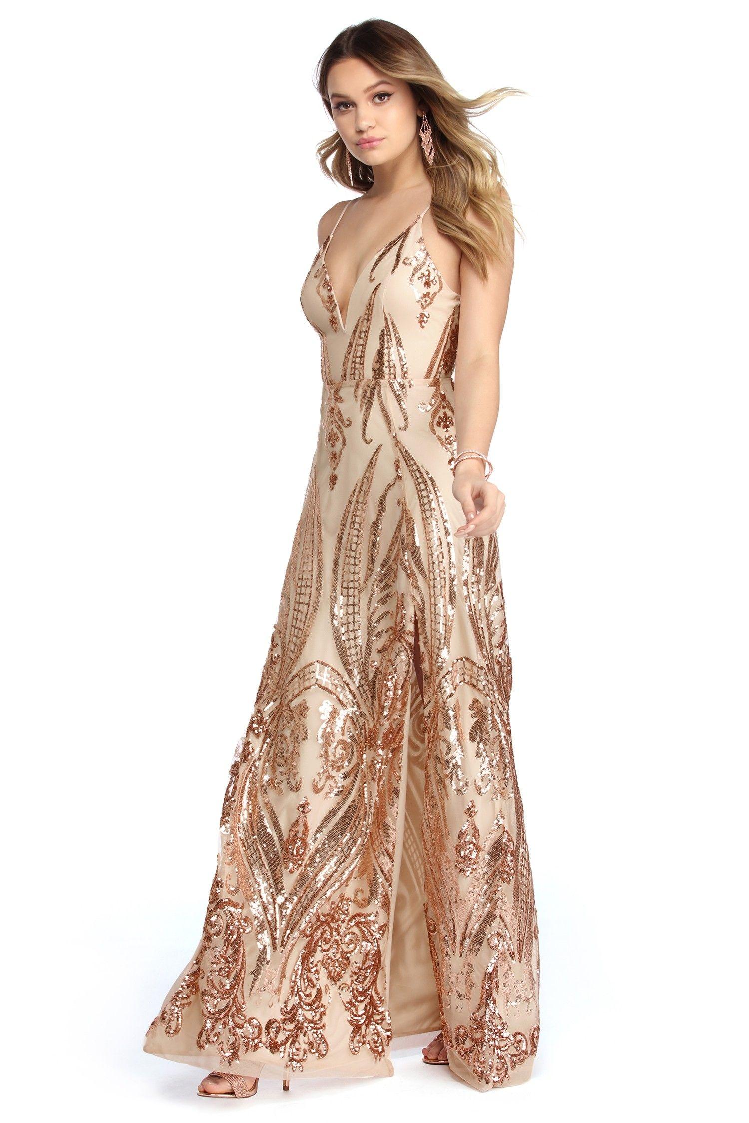 f404cecf326 Alexa Rose Gold Sequin Scroll Print Dress