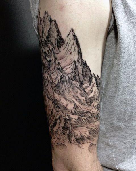 Tatuaże Męskie Góry 3d Tattoos Tattoos Mountain Tattoo Skull