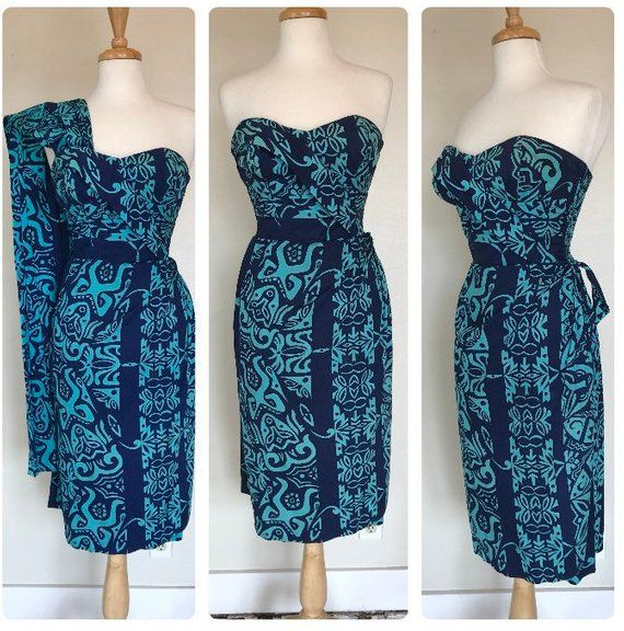 e7a710e92f01 Vintage 1950's 50s Alfred Shaheen Hawaiian Dress / Sarong wrap / Shoulder  Drape / Larger Size