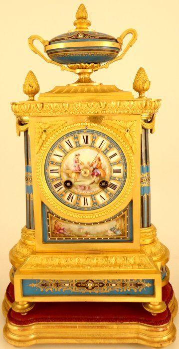 Antique Ormolu, Porcelain Mounted French Mantel Clock Garniture, circa 1890