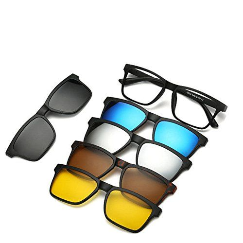 aaf9df34b8b Dragon Honor 5 in 1 Magnetic Lens Replaceable Sunglasses Clip on Sunglasses  Eyeglass