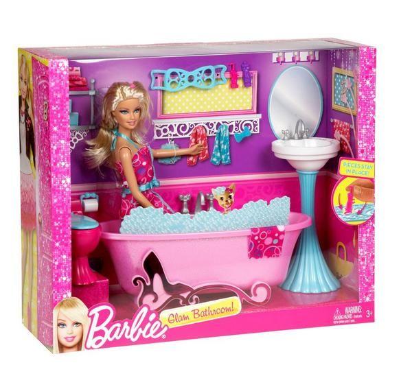 Great Mattel Y2856 BARBIE Puppe Mit BAD Möbeln Badezimmer Badewanne Und Zubehör  NEU! Pictures Gallery
