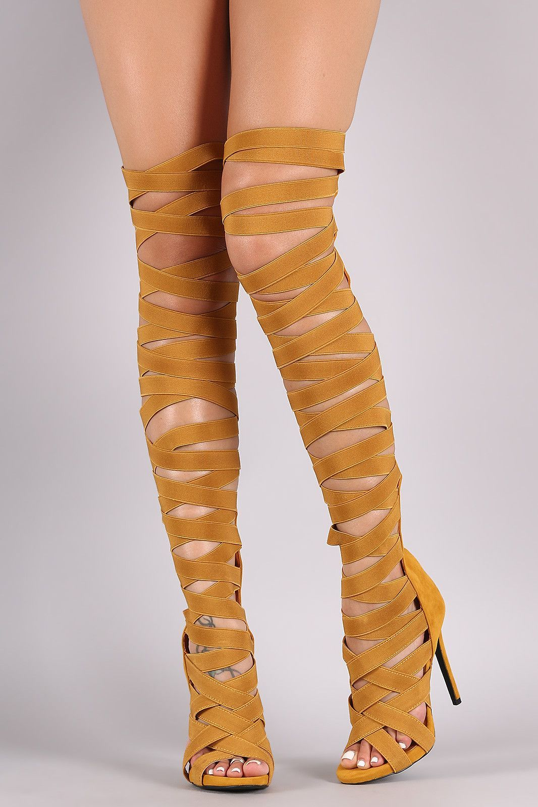 ️ ༻ ༺ Breckelles DIVA-22 Strappy Over the Knee High Heel