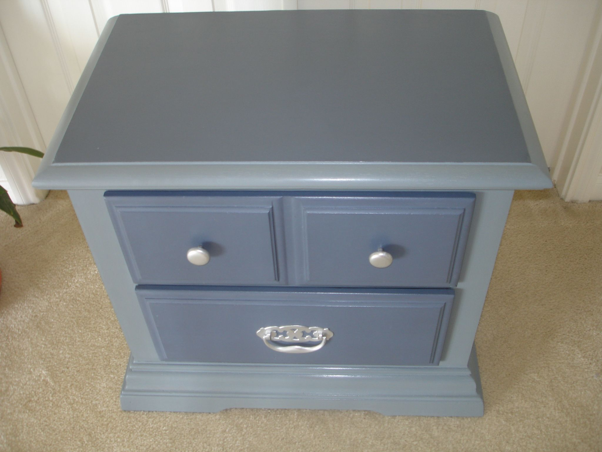Hand painted bedside table using chalk style paint with clear wax. Devine Compass for the top and drawers and Classic Gray for the body. Mary's Garden of Refinished Treasures  www.facebook.com