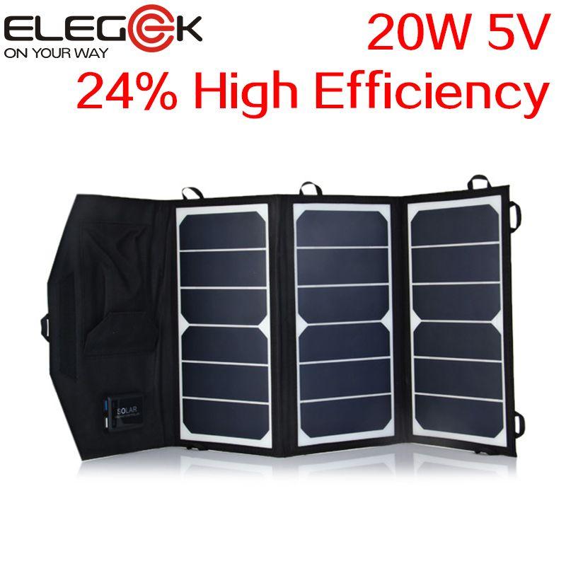 Cheap Price Elegeek 20w 5v High Efficiency Sunpower Folding Solar Charger Dual Usb Output Foldable Solar Charger F Solar Panel Charger Solar Charger Dual Usb