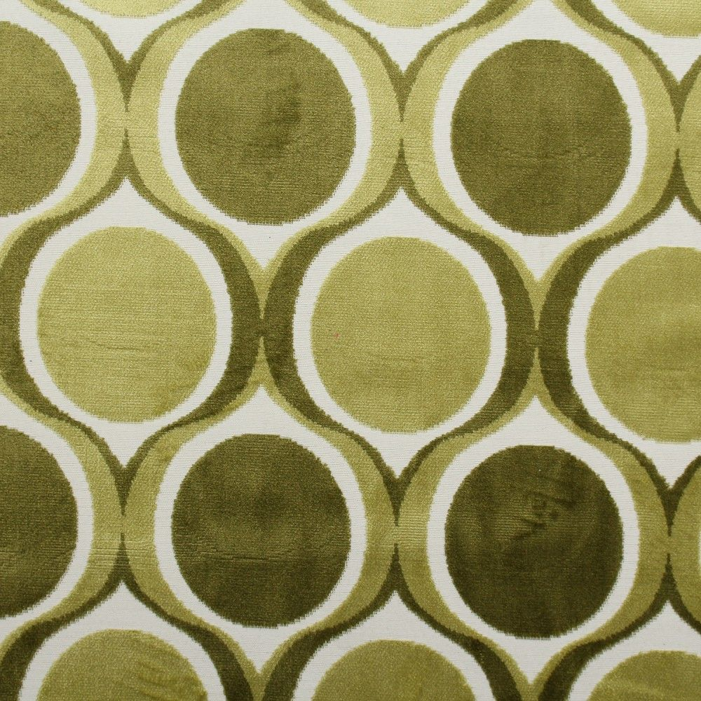 designer dfs cut velvet large retro vintage circle spots funky upholstery fabric
