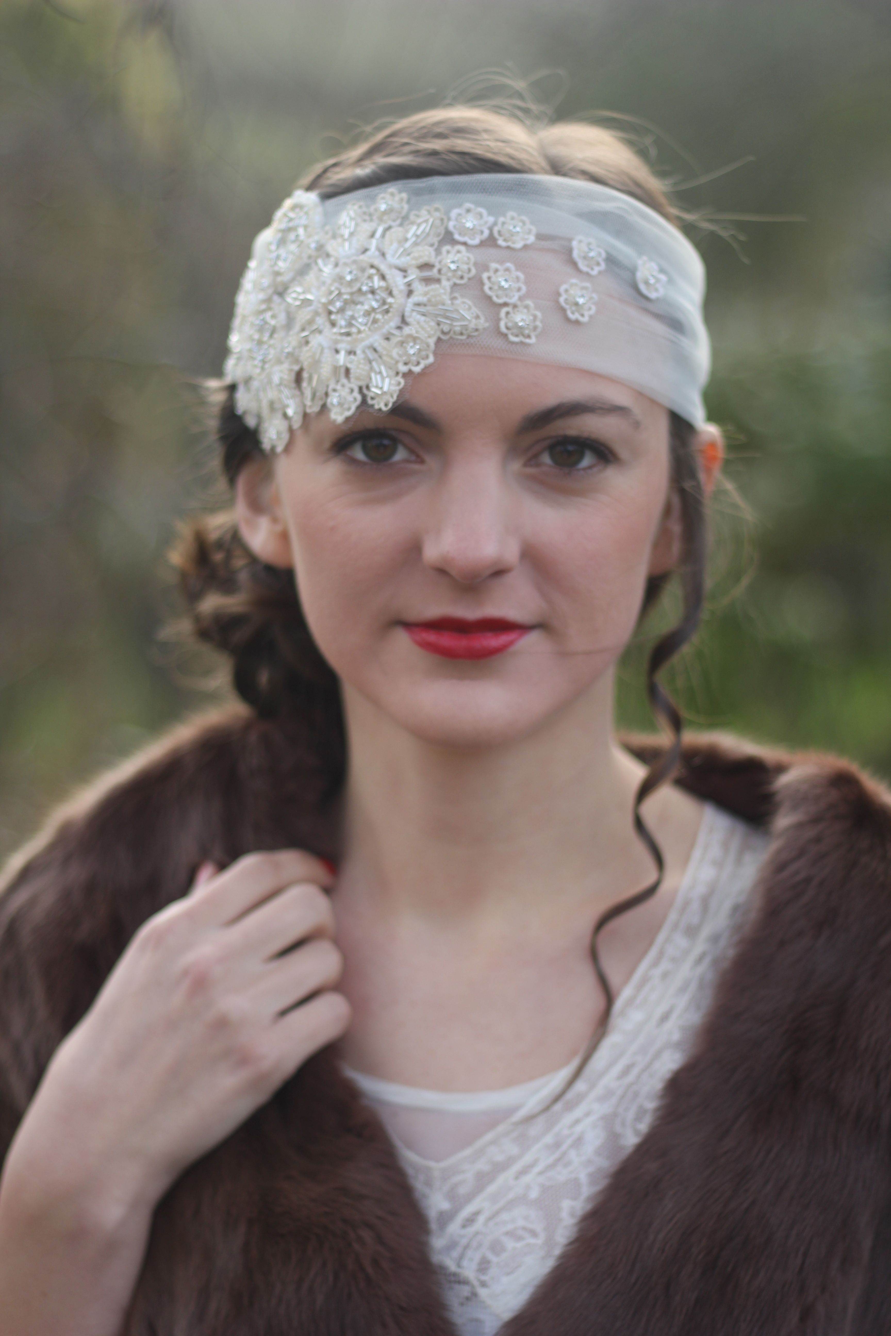 Thelma hand embellished tulle headband with swarovski crystals by