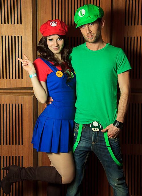 Super Mario u0026 Luigi My first fashion-cosplay attempt. D Mario Enji Night Luigi Me Photo cosplay.hu  sc 1 st  Pinterest : cute girl couple halloween costumes  - Germanpascual.Com